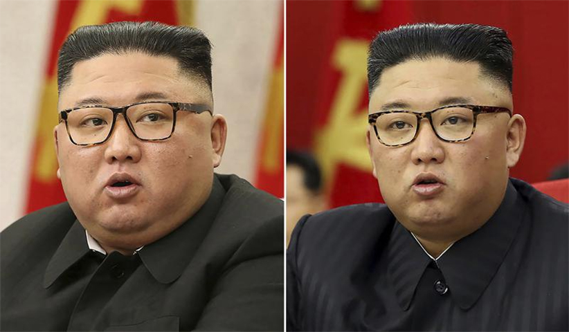 This combination of file photos provided by the North Korean government, shows North Korean leader Kim Jong Un at Workers' Party meetings in Pyongyang, North Korea, on Feb. 8, 2021, left, and June 15, 2021.