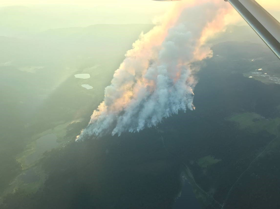 Smoke rises from the Sparks Lake wildfire near Kamloops. The BC Wildfire Service says burning conditions across much of the province are currently three to four weeks ahead of schedule.