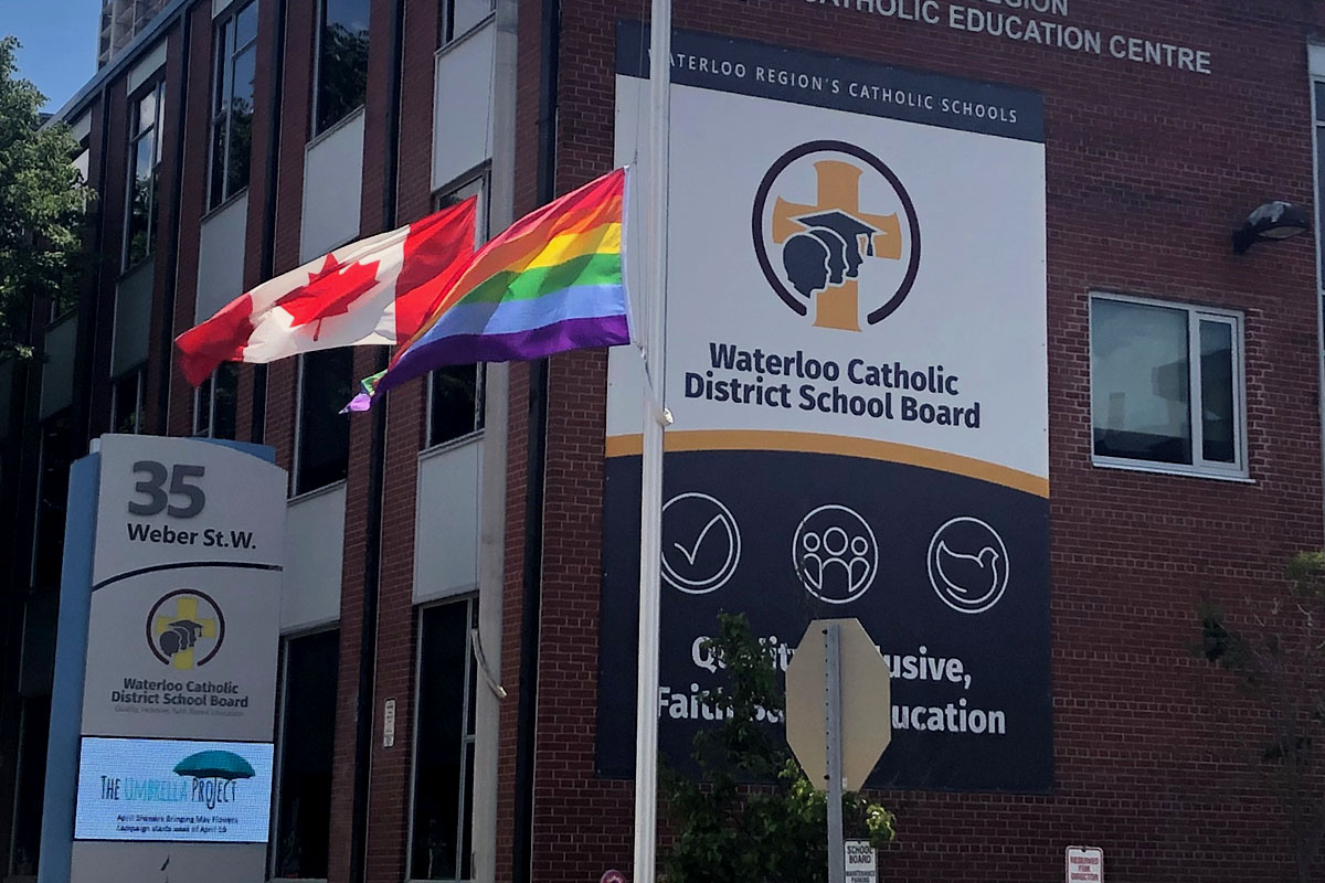 A pride flag flew in front of the Waterloo Catholic District School Board offices for the first time on Tuesday,.