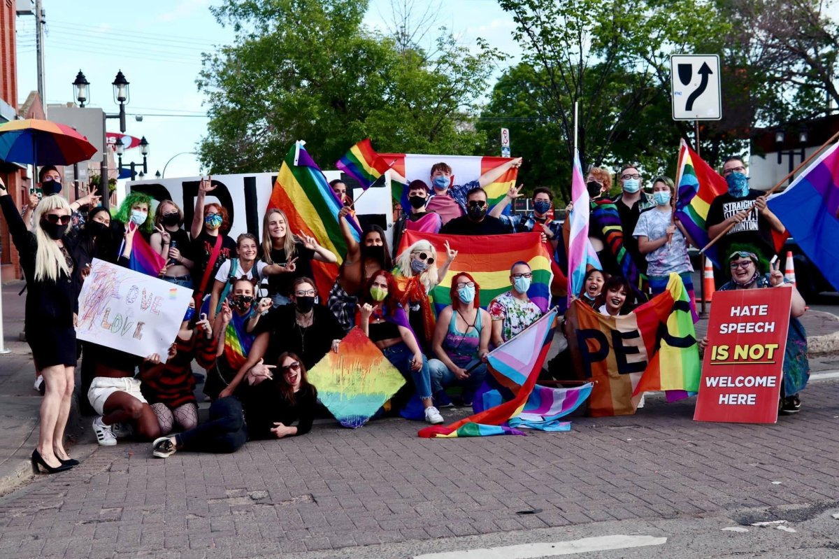 LGBTQ2S+ supporters and allies gather at Pride Corner on Whyte Avenue and Gateway Boulevard in Edmonton.