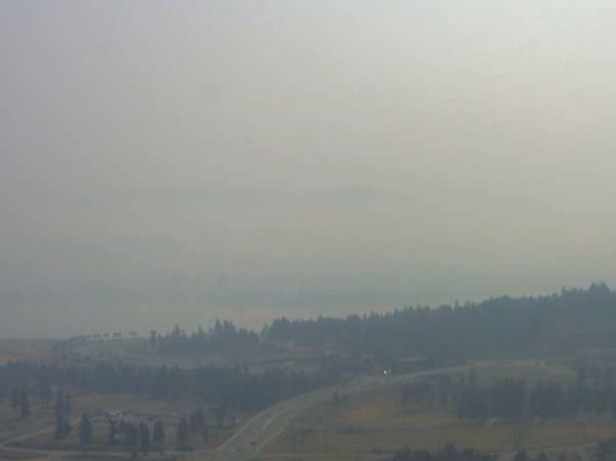 A smoky view from West Kelowna on Wednesday, July 28, 2021, that would normally show Okanagan Lake and part of Kelowna.