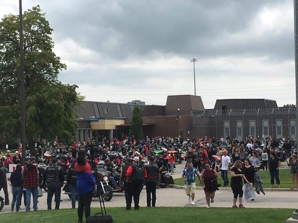 Over a thousand people and hundreds of bikers rallied outside EMDC on July 17, 2021.