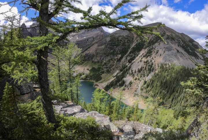 A view of Lake Agnes above Lake Louise, in Banff National Park, Alta., Thursday, Aug. 27, 2020.