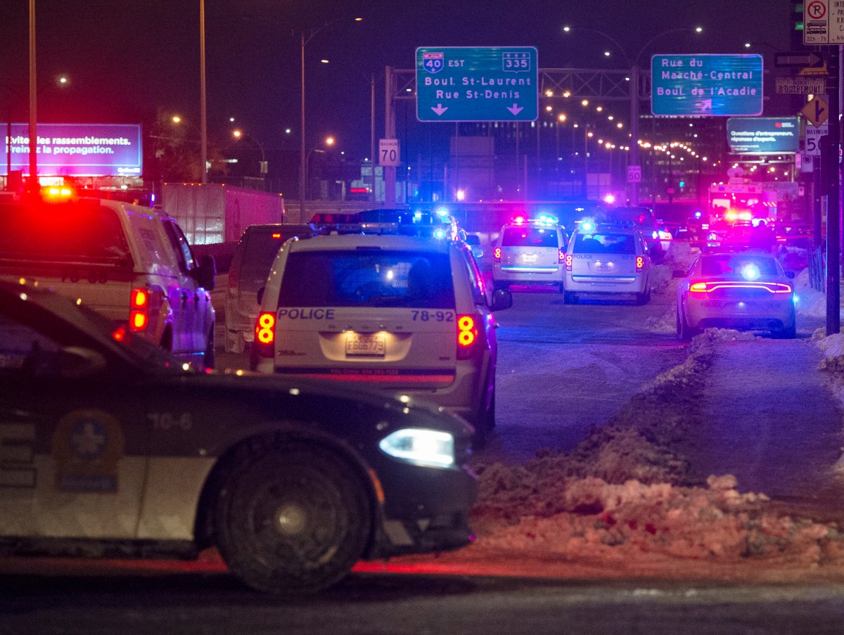 Police cordon off the area where an officer was allegedly attacked on Thursday, January 28, 2021 in Montreal.
