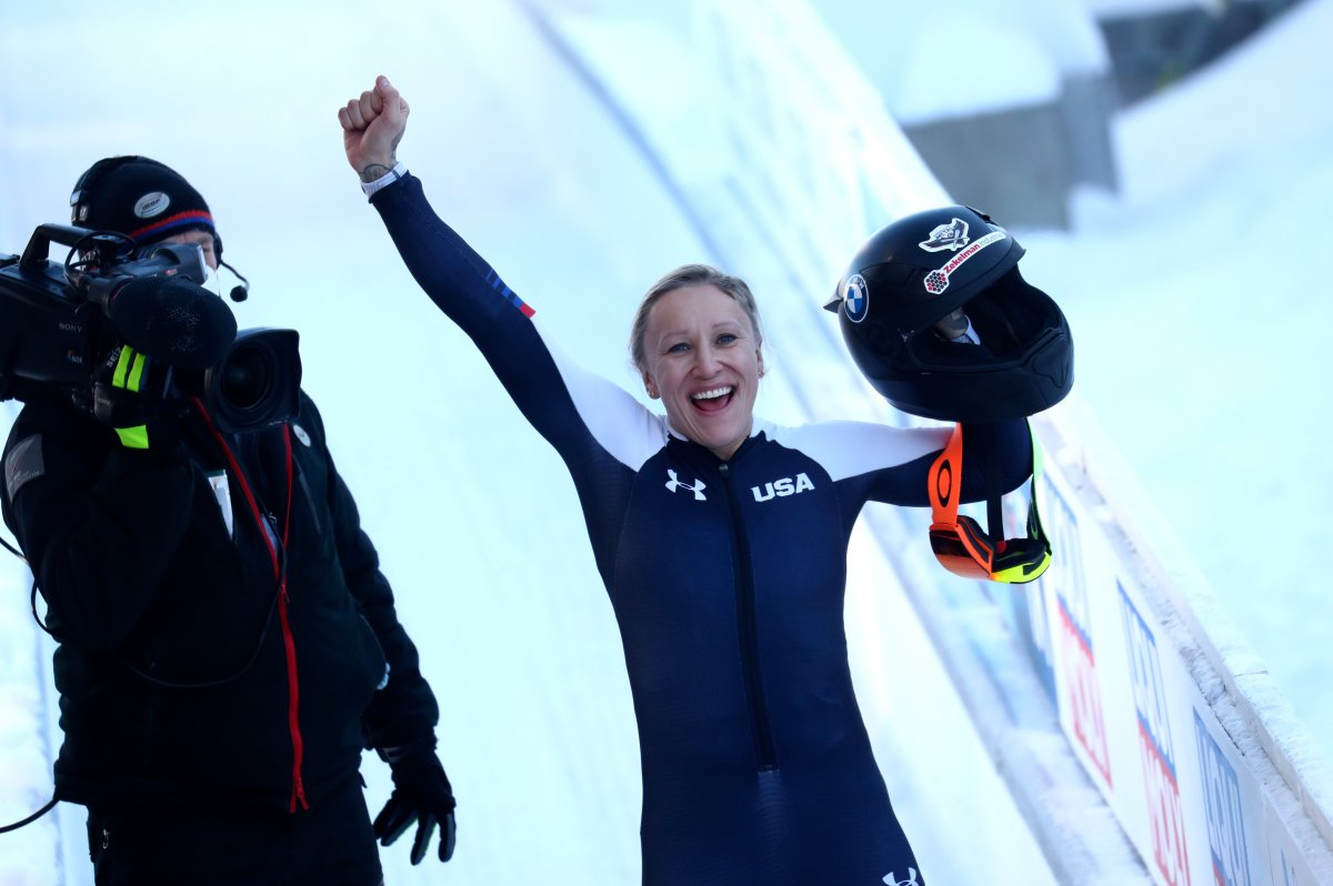 Bobsleigh pilot Kaillie Humphries of the United States reacts at the finish line after taking first place during the women's monobob race at the Bobsleigh and Skeleton World Championships in Altenberg, Germany, Sunday, Feb. 14, 2021.