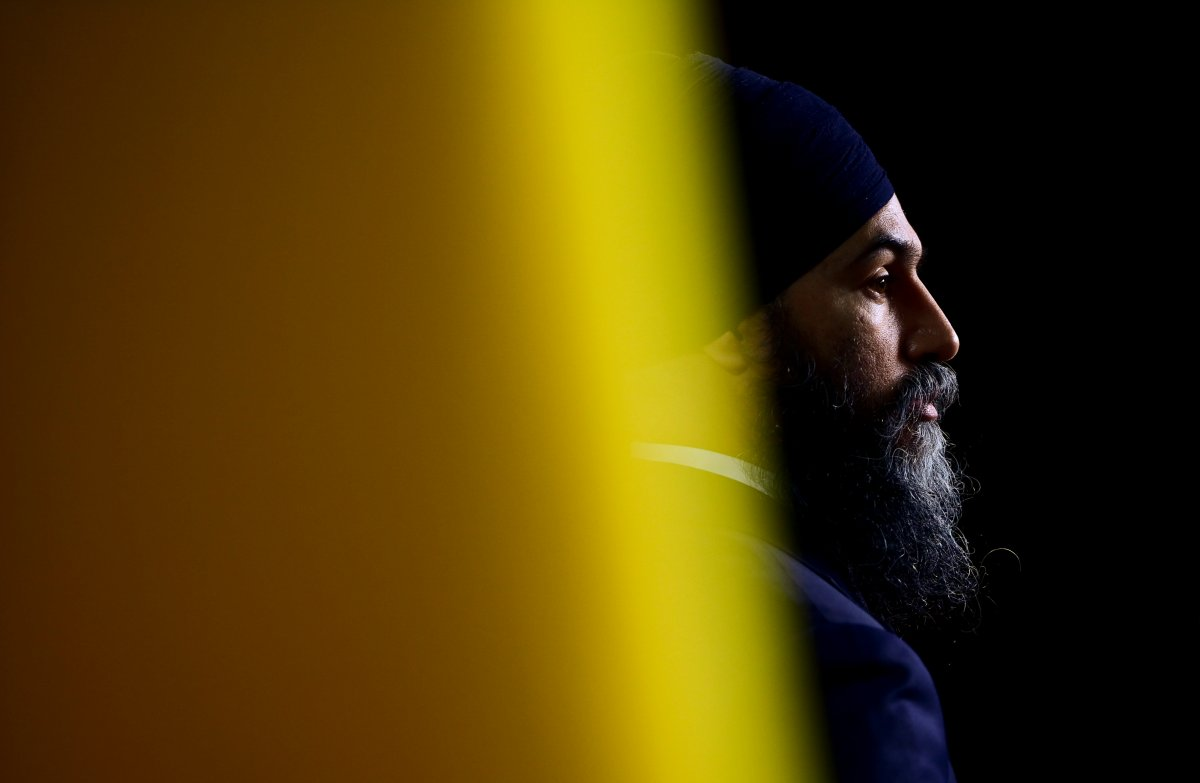 NDP Leader Jagmeet Singh holds a press conference on Parliament Hill in Ottawa on Wednesday, May 12, 2021.