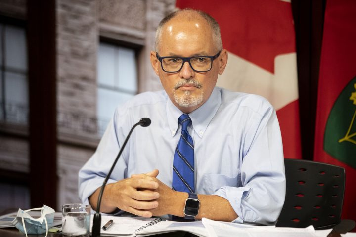 Dr. Kieran Moore attends a press briefing at Queens Park in Toronto on Thursday June 24, 2021.