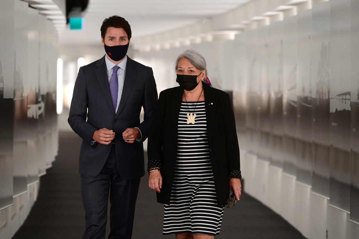 Prime Minister Justin Trudeau and Mary Simon arrive for an announcement at the Canadian Museum of History in Gatineau, Que., on Tuesday, July 6, 2021.