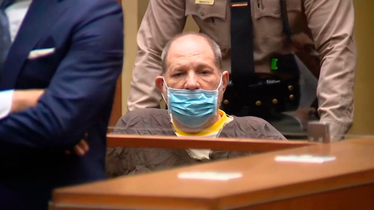 In this image taken from KABC pool video, Harvey Weinstein, the 69-year-old convicted rapist and disgraced movie mogul, wears a face mask during an arraignment hearing, Wednesday, July 21, 2021, in Los Angeles.