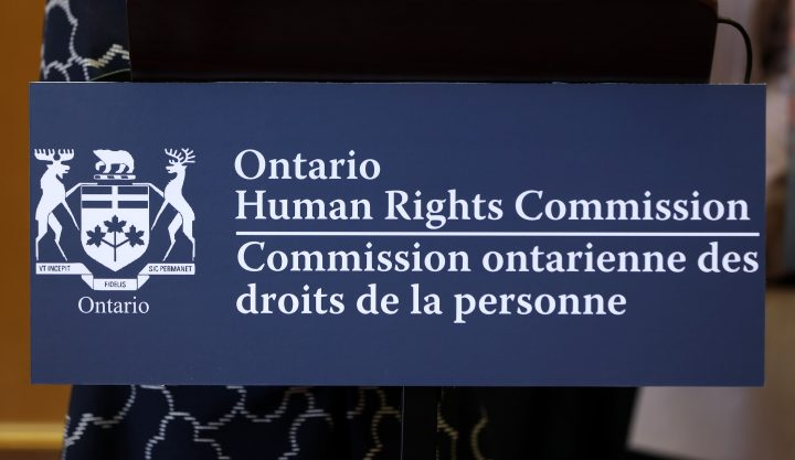 A sign of the Ontario Human Rights Commission is seen at a news conference in Vaughan, Ont., on Friday, Sept. 20, 2019.