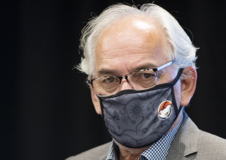 Ghislain Picard, Chief of the Assembly of First Nations Quebec-Labrador, arrives at a news conference about a survey on Quebecers attitudes toward First Nations Wednesday, August 12, 2020  in Montreal.