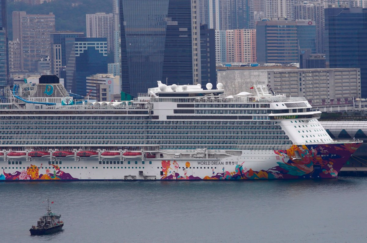 FILE -- The World Dream cruise ship docked at Kai Tak cruise terminal in Hong Kong, Wednesday, Feb. 5, 2020. (AP Photo/Vincent Yu).