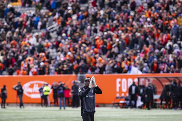 Forge FC keeper Triston Henry applauds the Forge fans following a 1-1 draw in the inaugural soccer match of the Canadian Premier League between Forge FC of Hamilton and York 9 in Hamilton, Ont. Saturday, April 27, 2019.