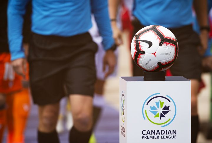 The game ball sits on a pedestal ahead of the inaugural soccer match of the Canadian Premier League between Forge FC of Hamilton and York 9 in Hamilton, Ont. Saturday, April 27, 2019.