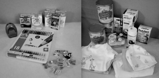 Photos, released under the Access to Information Act, showing care packages Global Affairs Canada sent to Canadian women and children at camps for ISIS detainees in Syria.
