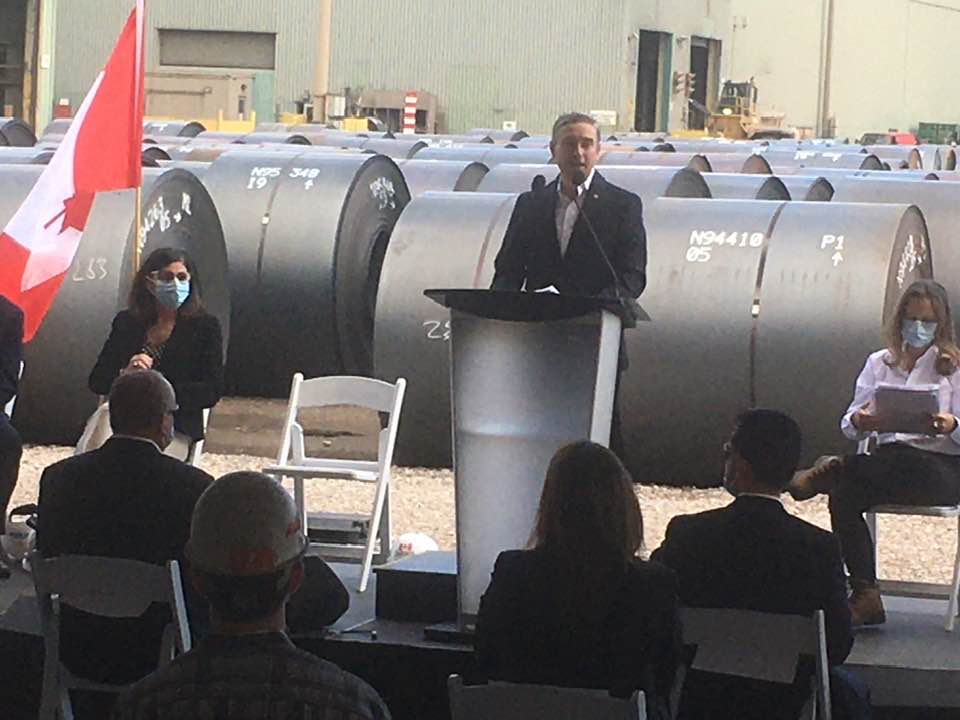François-Philippe Champagne, Canada's Minister of Innovation, Science and Industry, has announced a $400 million federal contribution towards a planned greening of ArcelorMittal Dofasco's steelmaking operations in Hamilton.