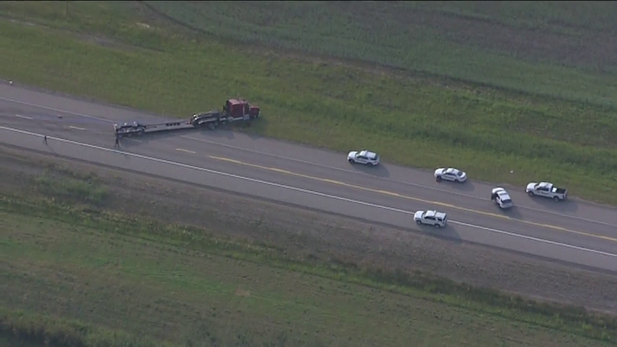 Emergency crews responded to a crash near Gibbons, Alta., on Saturday, July 31, 2021.