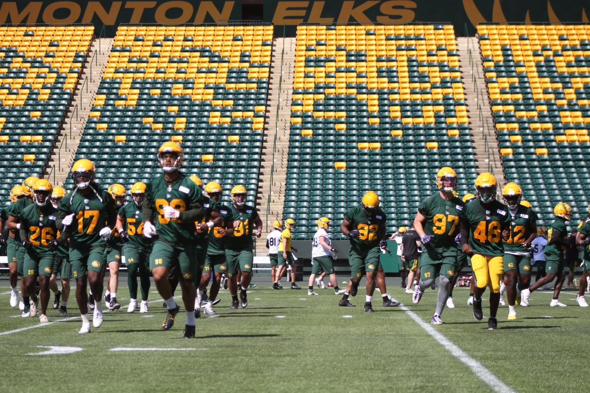 Edmonton Elks during Day 3 of training camp on Monday, July 12, 2021.