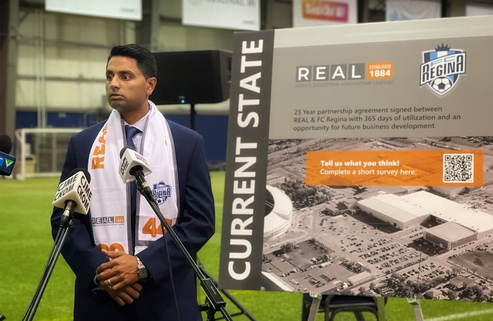 TJ Singh, FC Regina executive director, at Thursday's announcement regarding the 25-year lease agreed upon with REAL.