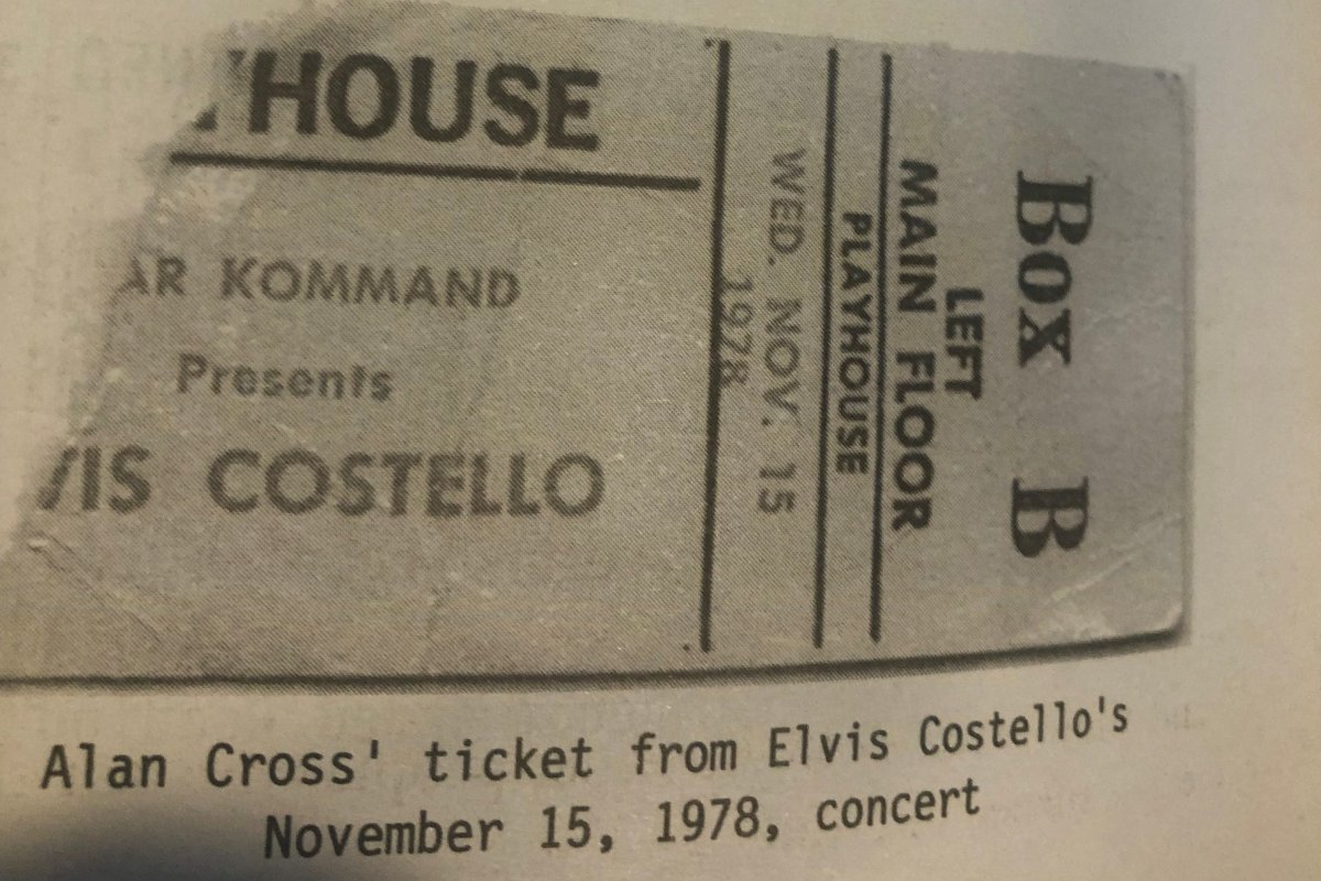 Alan Cross saved his ticket stub from a Nov. 15, 1978, show by Elvis Costello.