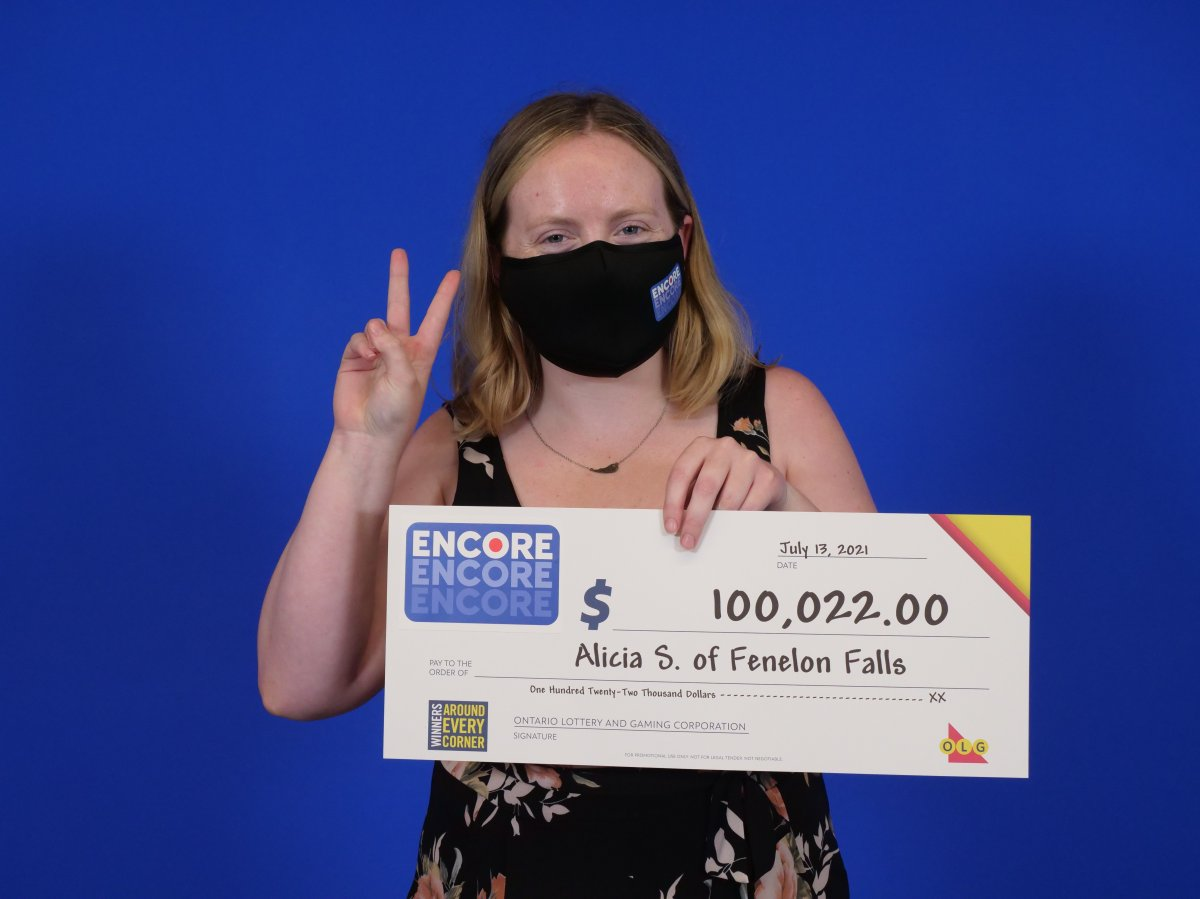 A Fenelon Falls, Ont. woman claimed $100,000 in the July 13 Lotto Max draw.