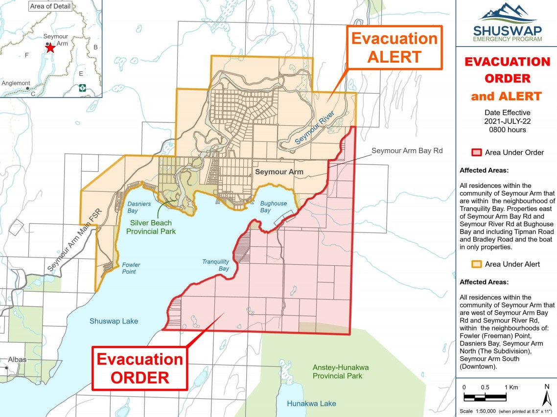 The evacuation order affects approximately 39 people on the east side of Seymour Arm, and firefighters went door-to-door to ensure people were notified.