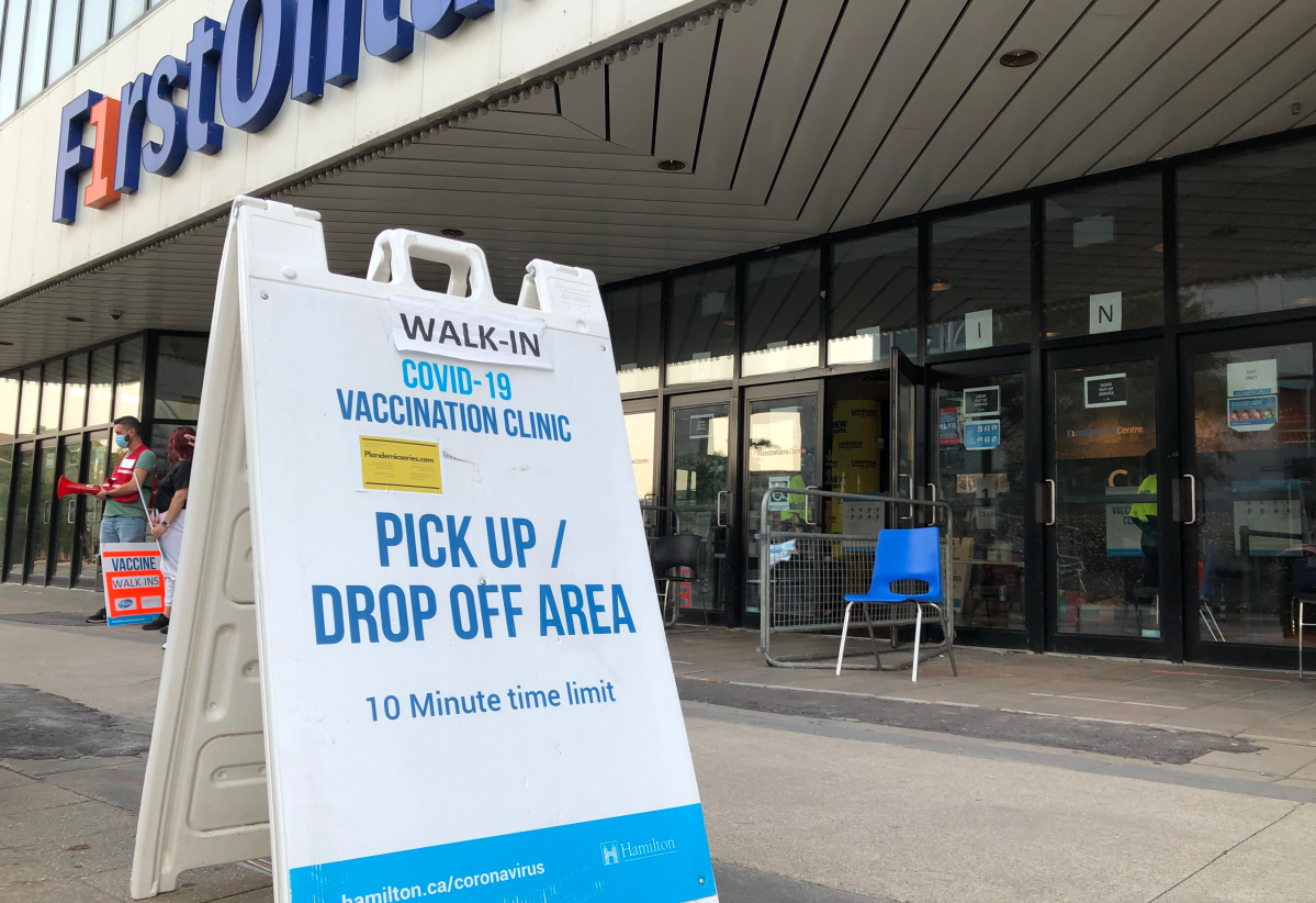 Hamilton's mass vaccination clinics are open for walk-in appointments for first and second doses of COVID-19 vaccine before they're scheduled to close next month.