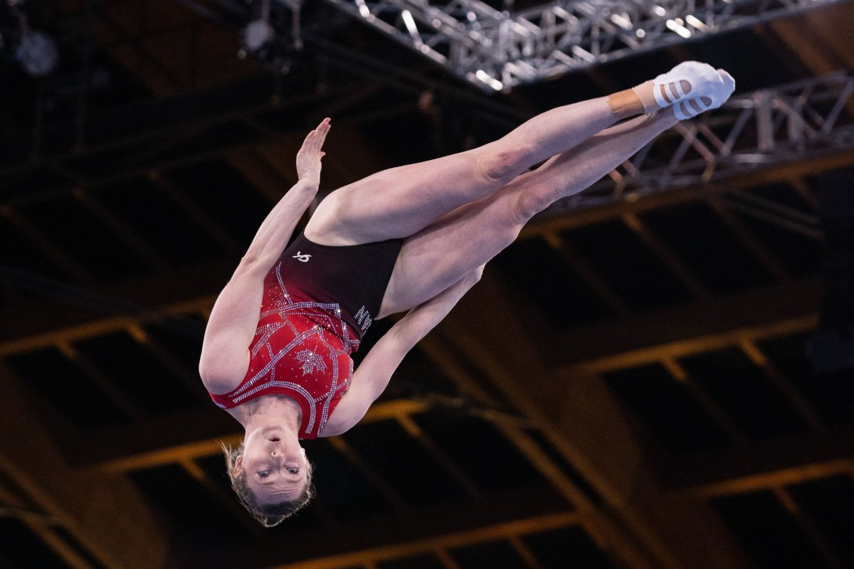 Canada's Rosannagh Maclennan competes in the women's final of the Trampoline Gymnastics event during Tokyo 2020 Olympic Games at Ariake Gymnastics centre in Tokyo, on July 30, 2021.