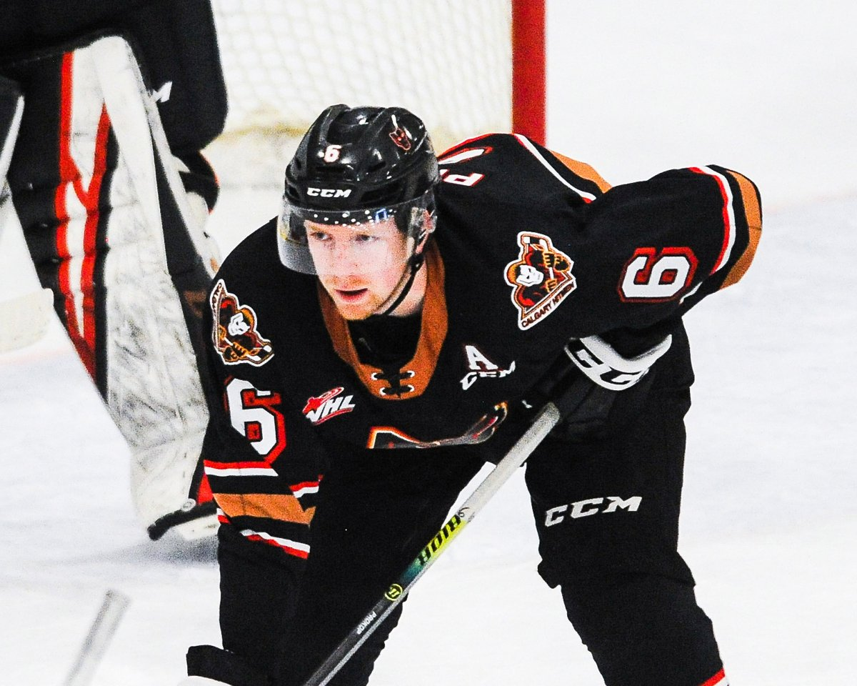 Luke Prokop #6 of the Calgary Hitmen in action against the Edmonton Oil Kings during a WHL game at Seven Chiefs Sportsplex on March 27, 2021 in Calgary.