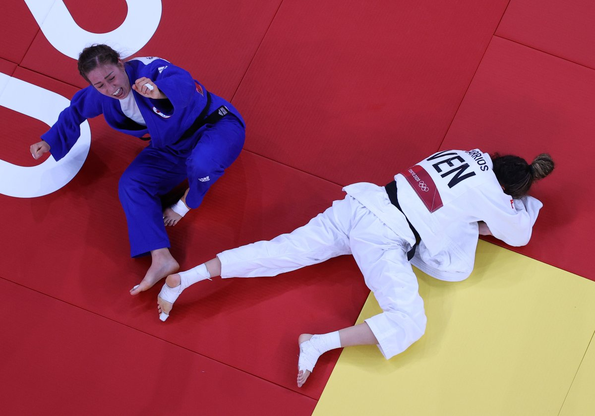 Catherine Pinard-Beauchemin of Team Canada defeats Anriquelis Barrios of Team Venezuela during the Women's Judo 63kg Contest for Bronze Medal B on day four of the Tokyo 2020 Olympic Games at Nippon Budokan on July 27, 2021 in Tokyo, Japan.