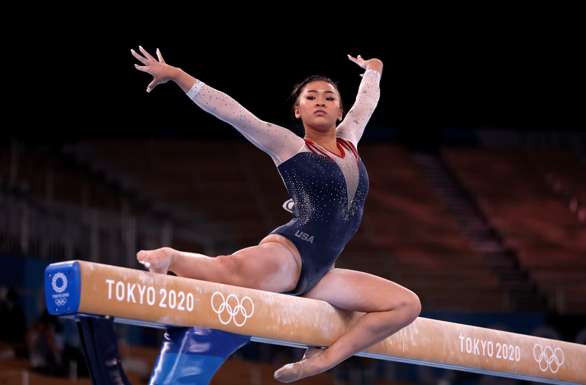 Sunisa Lee of Team United States competes on balance beam during the Women's All-Around Final on day six of the Tokyo 2020 Olympic Games at Ariake Gymnastics Centre on July 29, 2021 in Tokyo, Japan.