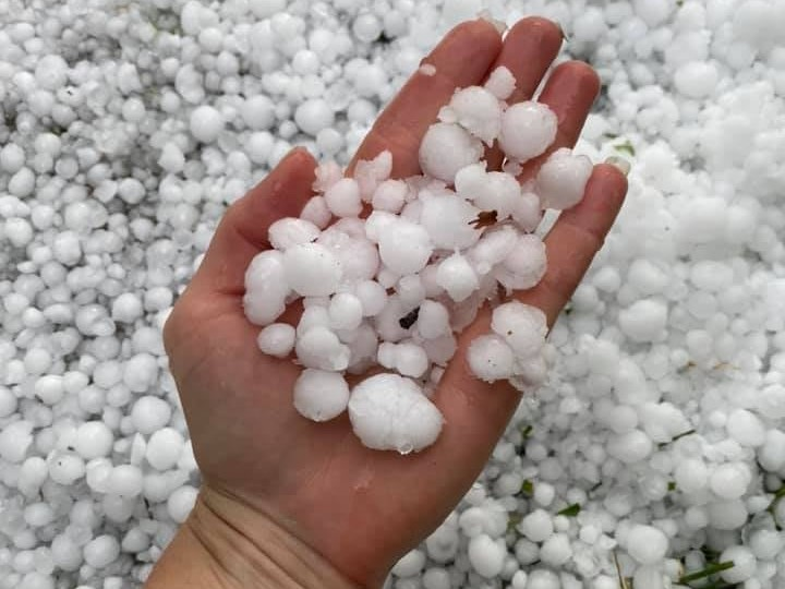 The District of Invermere, B.C., was pelted by hail on Friday afternoon.