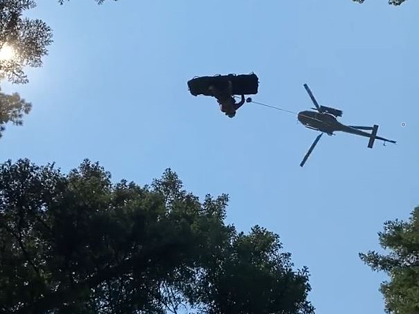 A helicopter team from Penticton Search and Rescue was called in to rescue an injured mountain biker in the Central Okanagan on Friday morning.
