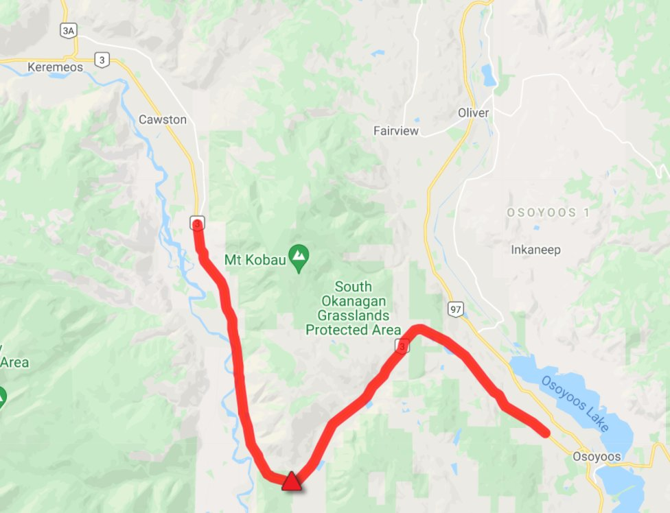 Highway 3, between Keremeos and Osoyoos, was closed for several hours early Wednesday morning due to a grass fire.