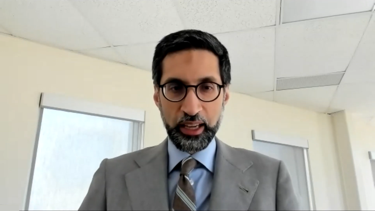 Niagara Region's acting medical officer of health Dr. Mustafa Hirji speaks during an online press conference July 5, 2021.