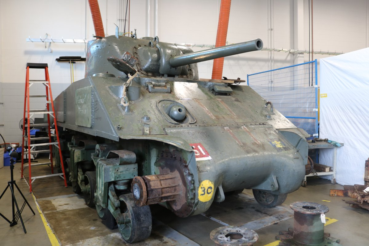 The Holy Roller tank being preserved at the Fanshawe School of Transportation Technology and Apprenticeship on July 29, 2021.