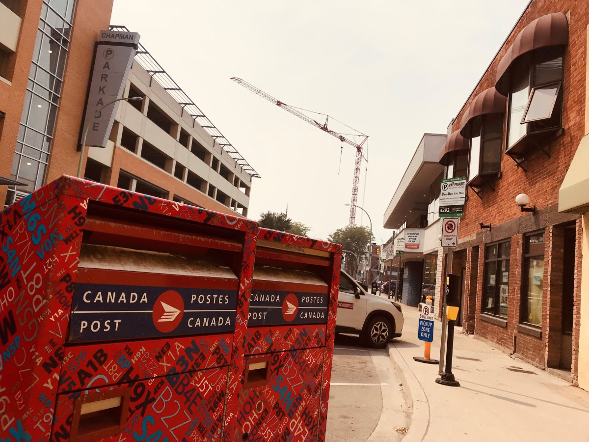 Canada Post said due to poor air quality in the Okanagan Valley, caused by smoke from wildfires, a red service alert was issued.