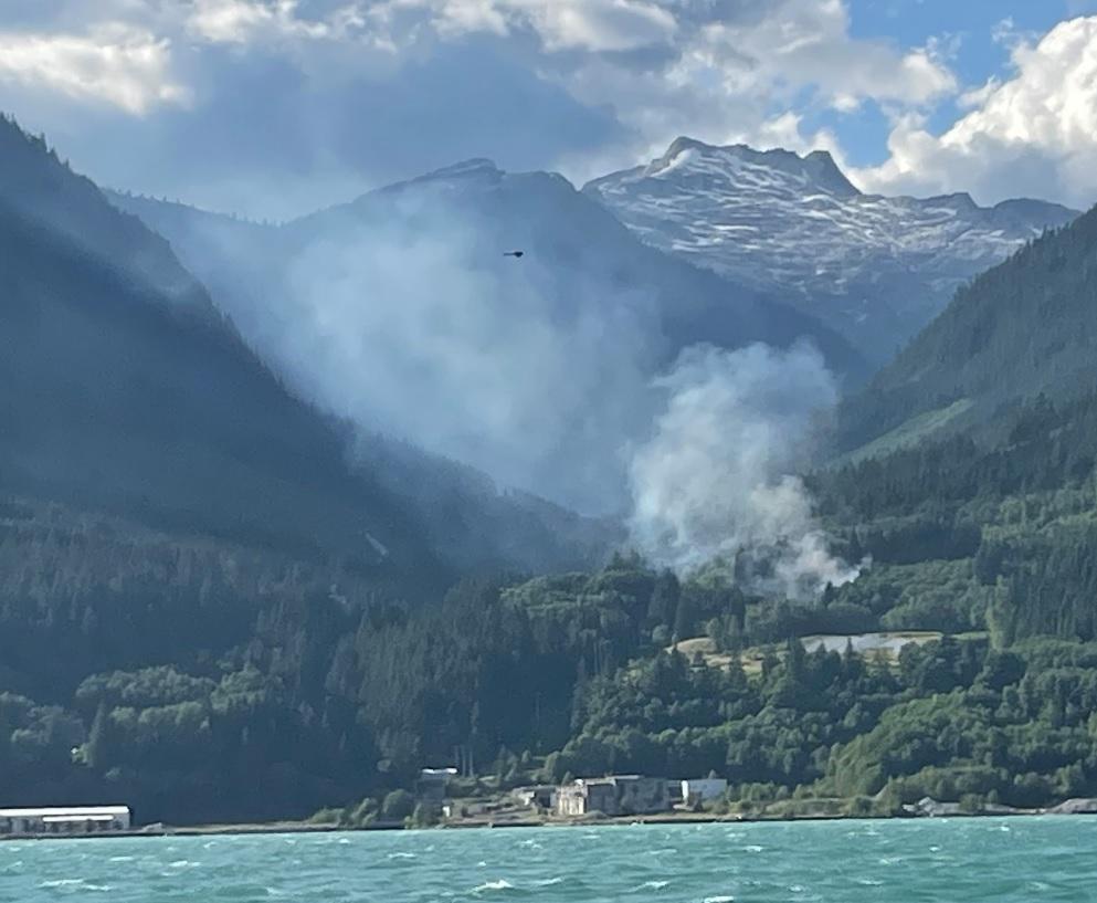 The Mill Creek wildfire burning near Squamish.