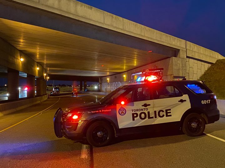Police at the scene of the crash in Etobicoke on Wednesday.