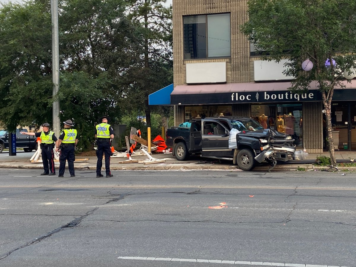 One person was taken to hospital after a speeding truck crashed on Jasper Avenue on Monday, July 26.