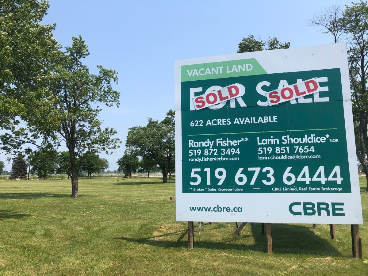Sold signs sit outside the former Ford assembly plant in Talbotville, Ont. on July 5.