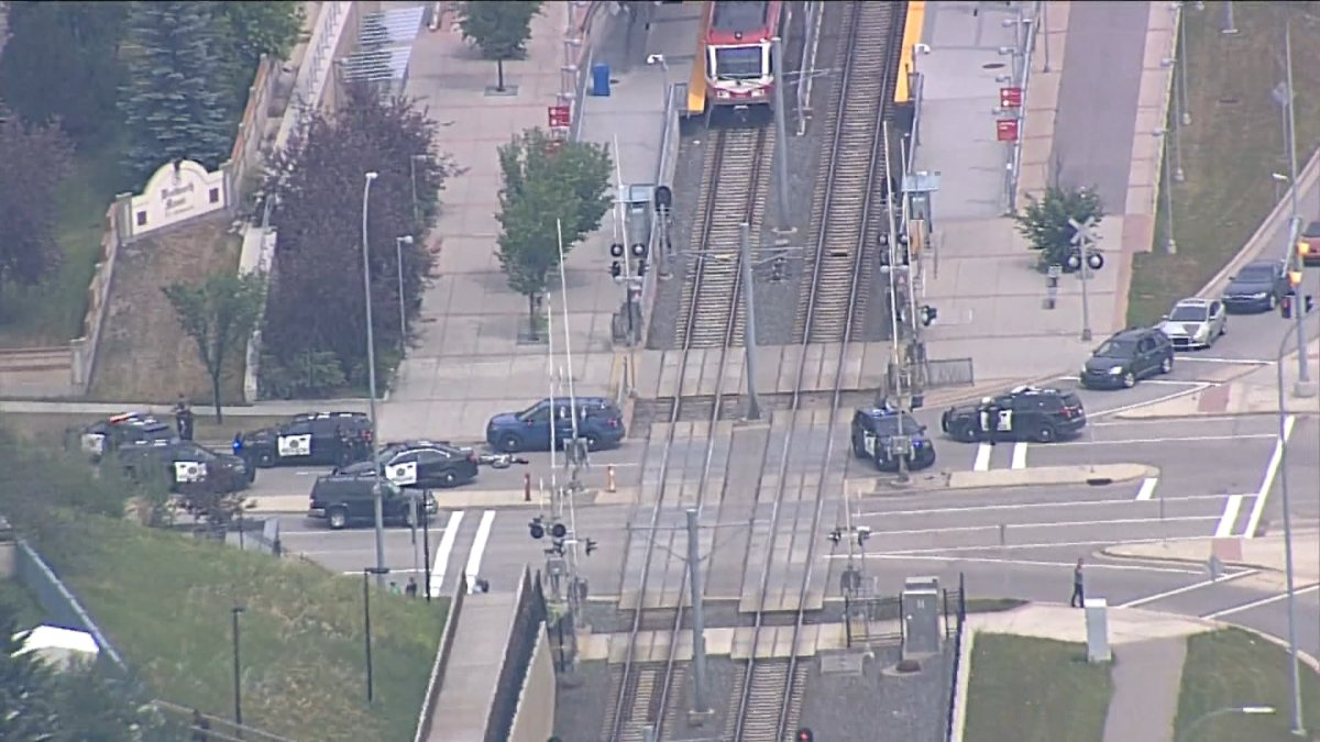 Calgary police at the Sirocco CTrain station in Calgary after getting reports of a person on a train with a weapon.