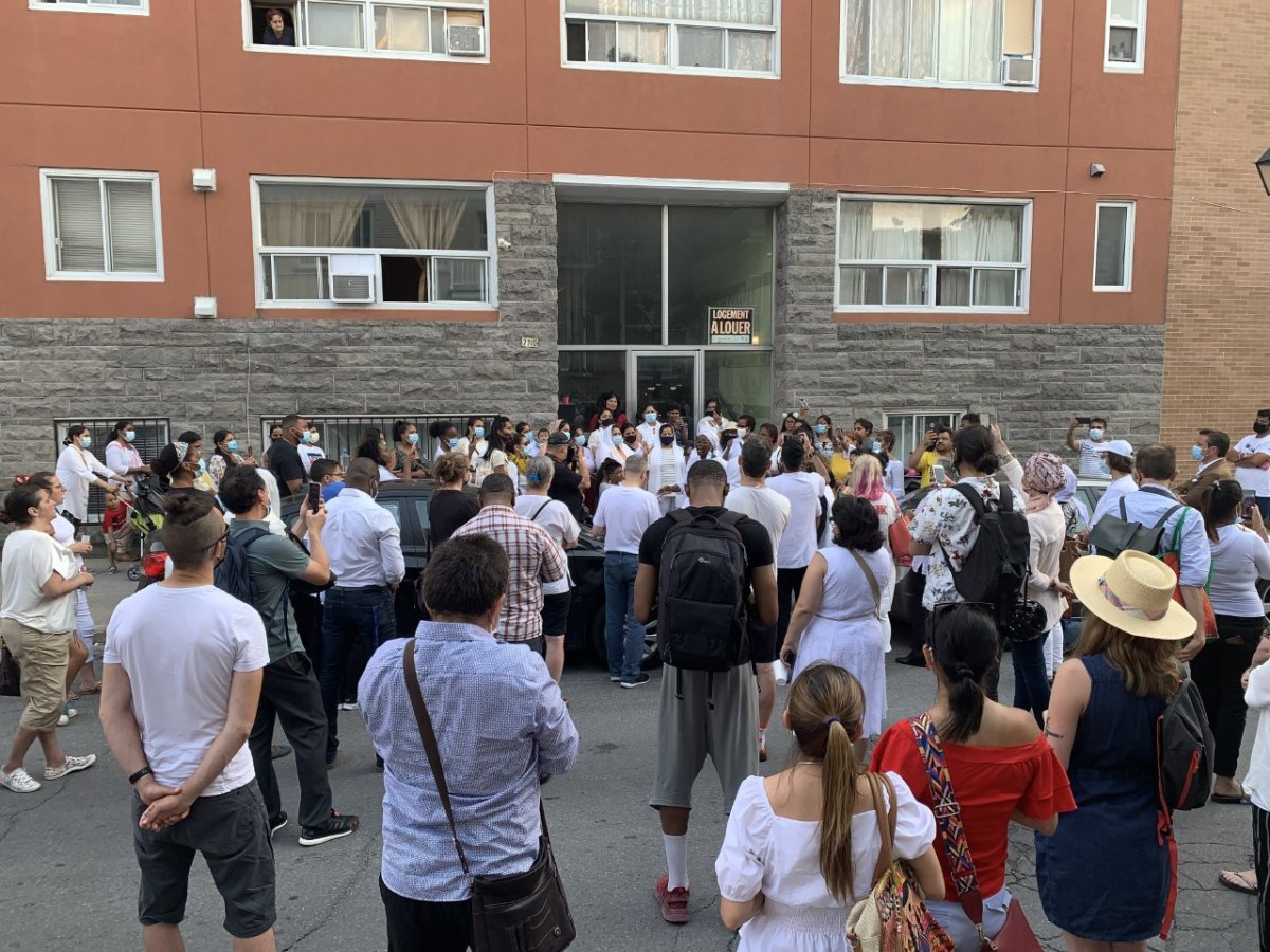 People gathered in Park-Extension to honour the life of a young mother, presumably killed by her partner. Monday July 26, 2021.