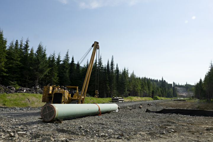 Construction is seen along  the route of the Coastal Gaslink pipeline, northeast of Kitimat, BC,  July  4, 2021. The pipeline will serve the LNG Canada project.
