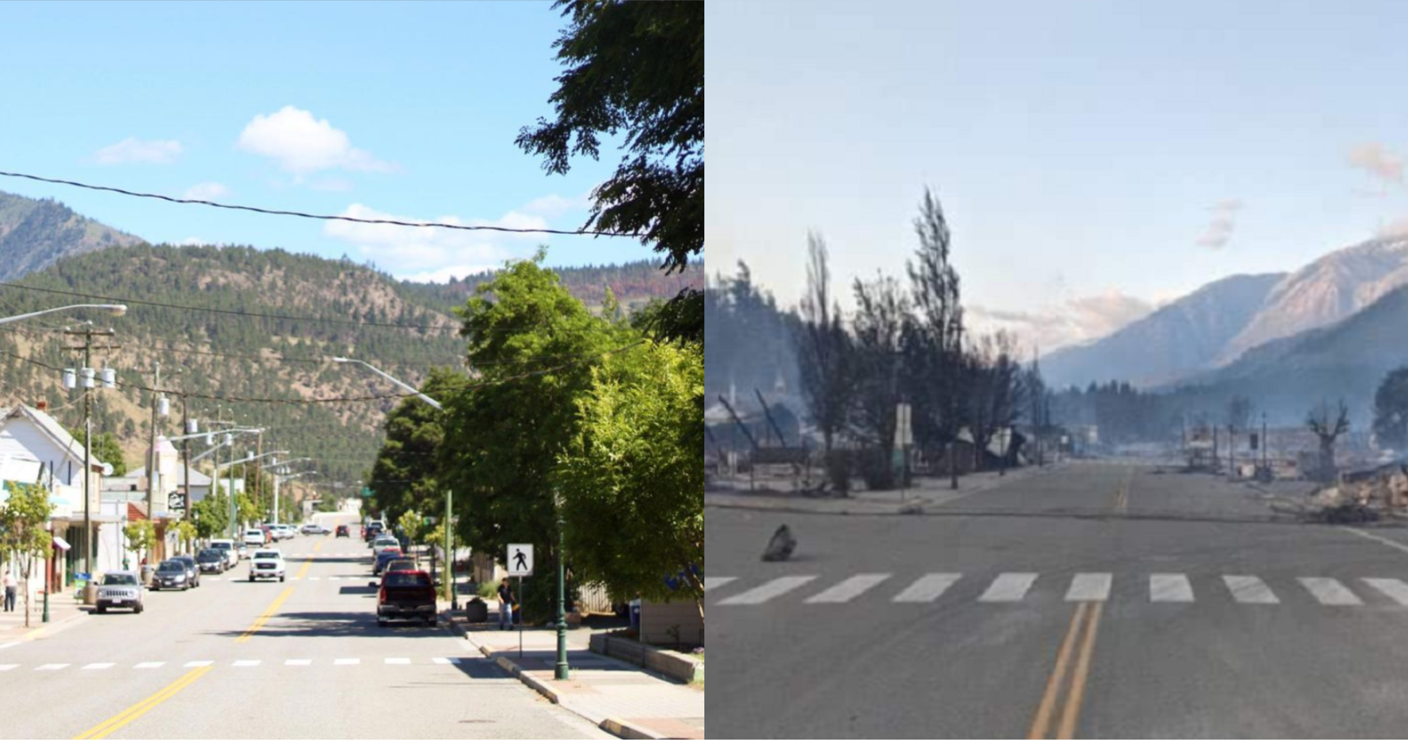 A look at downtown Lytton, B.C., before and after a fire swept through the village on June 30, 2021.