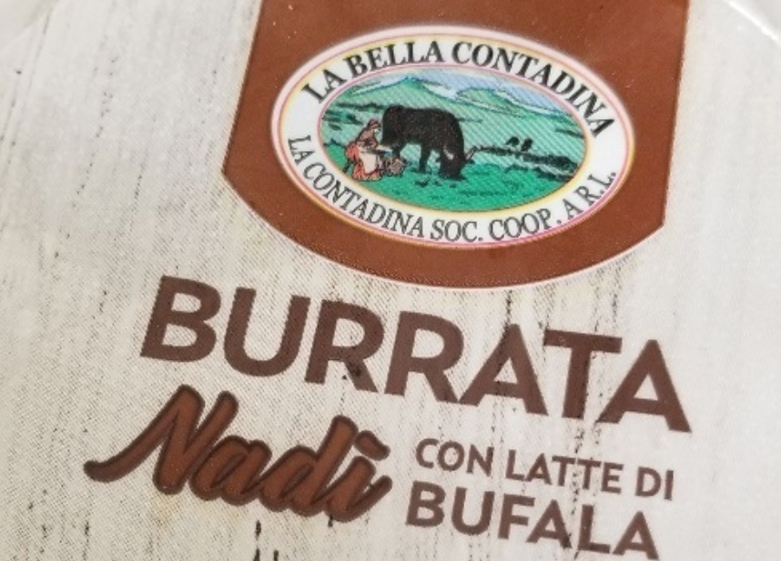 La Bella Contadina brand Burrata Nadi con latte di bufala cheese is shown in a photo provided by the Canadian Food Inspection Agency.