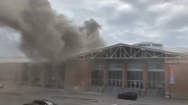 Smoke is seen rising from Pacific Mall in Markham.