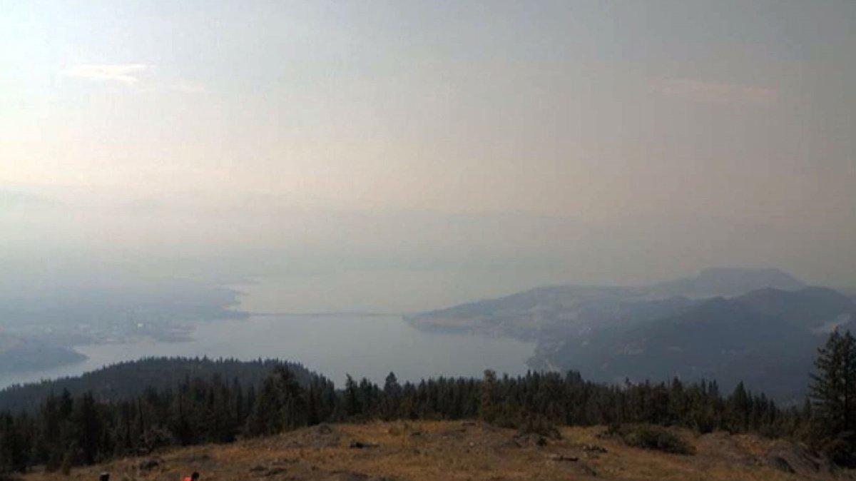 A photo showing smoky skies above Okanagan Lake, Kelowna and West Kelowna on Friday, July 2, 2021.