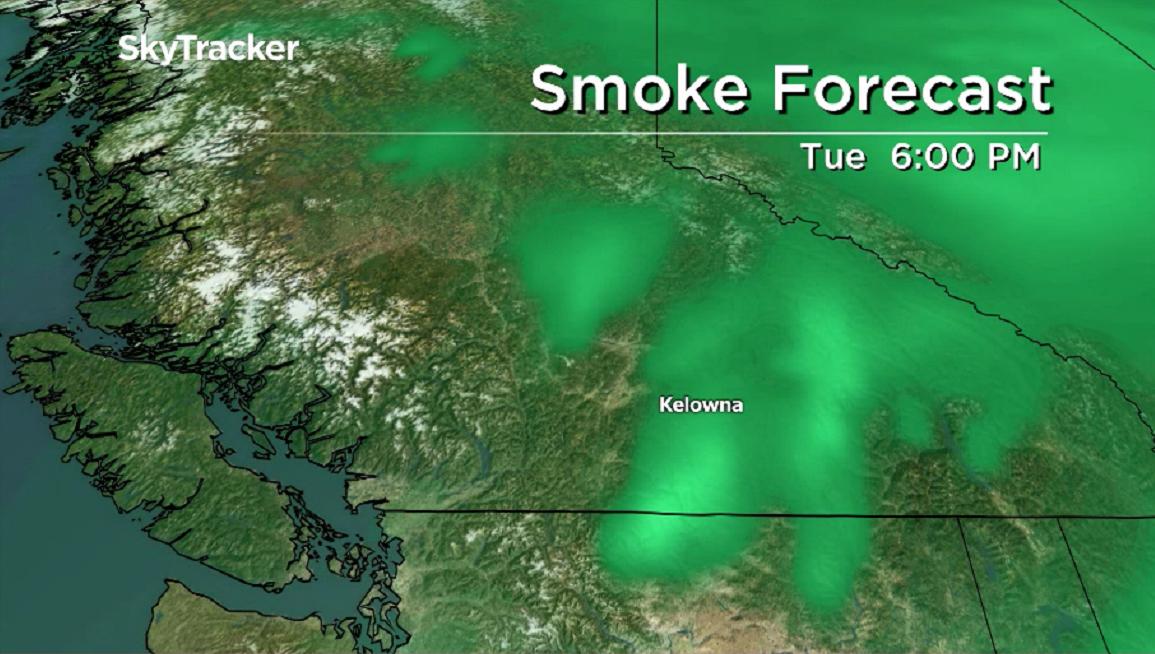 Smoky skies stick around the Okanagan this week.