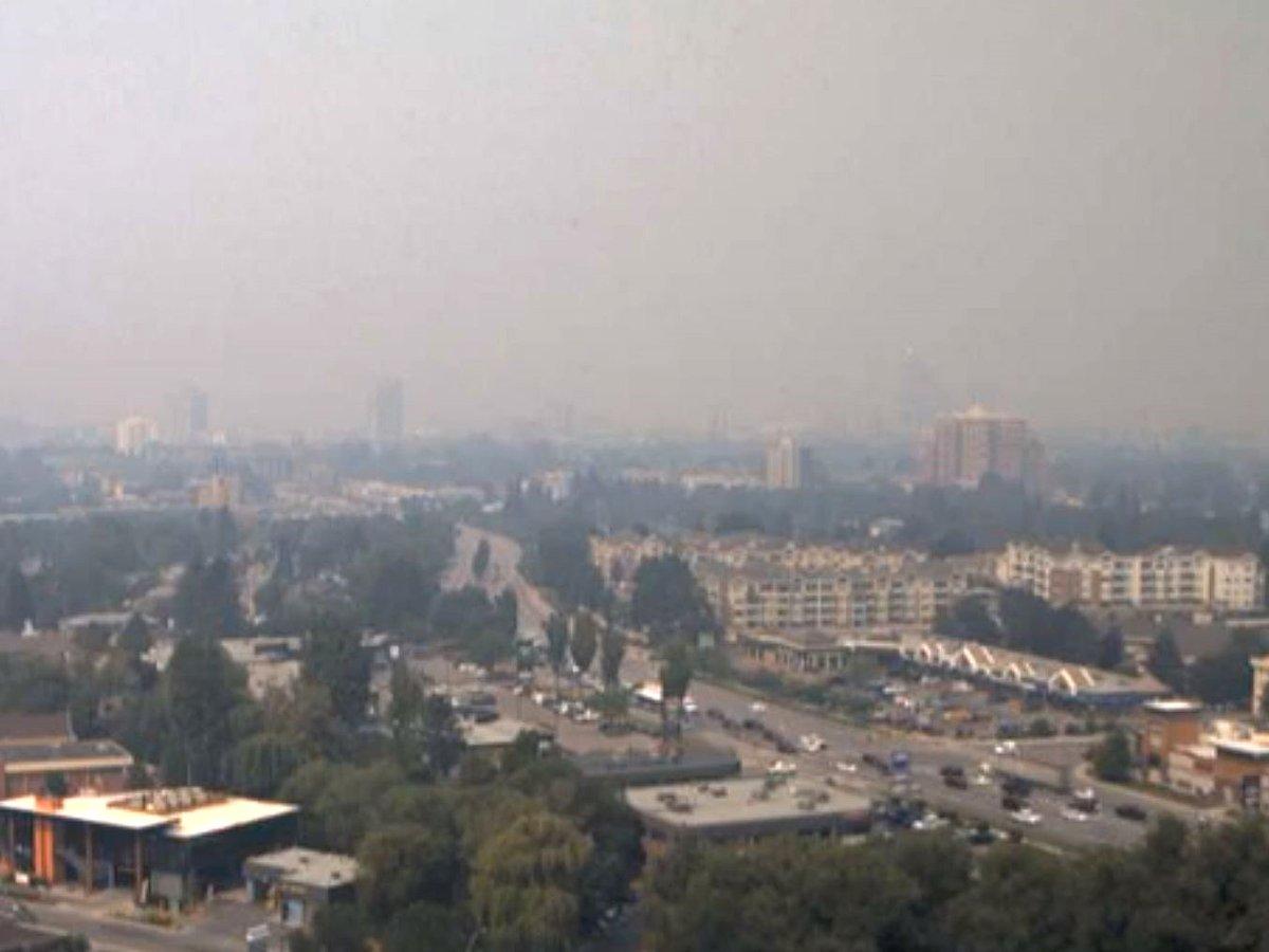 A smoky view of Kelowna on Thursday, July 29, 2021.